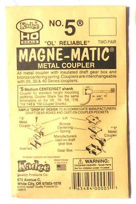 Kadee #5 pack - Magne-Matic metal couplers + draft boxes HO/OO scale (2 pair)