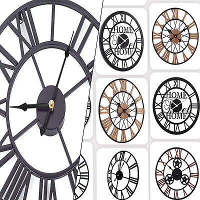 Large Round Contemporary Skeleton Antique Roman Style Metal Black Wall Clock
