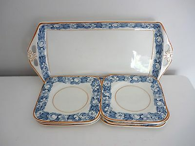 """WOOD and SONS """"ELGIN"""" Art Deco Blue and White Sandwich plate + 6 square plates"""