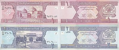 Afghanistan 2 Banconote Fds Unc 1 2 Afghanis 2002 Asia