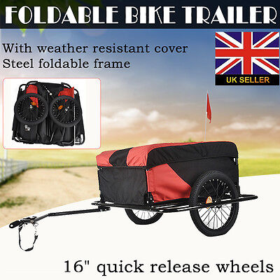 Dual Wheel Foldable Cargo Trailer Bicycle Bike Luggage Pets Cart Carrier 100Kg #