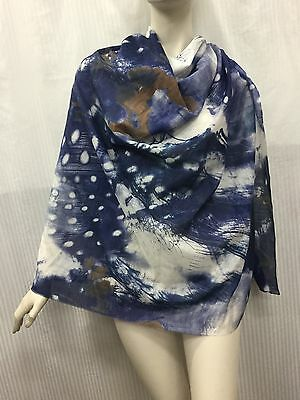silk cotton 30 70 White Greyish Blue Abstract Painting Print Fabric By The Meter