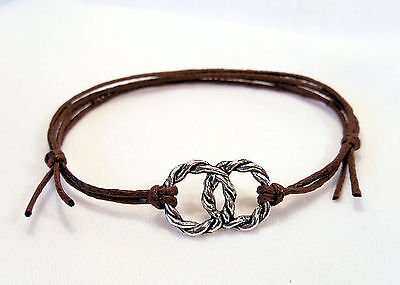 Silver HANDFASTING Pagan Brown Cord Bracelet Celtic Rings Entwined Love Druid