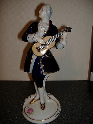 "Royal DUX Czechoslovakia 9"" Figurine Man Playing Mandolin"