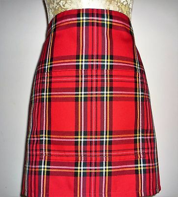 SHORT BISTRO / CAFE / PUB APRON WITH POCKET,RED SCOTTISH TARTAN.Made in Scotland
