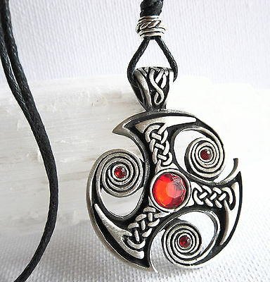 Celtic TRISKELION Pendant Cord Necklace Triskele Red Beads Viking Jewellery New