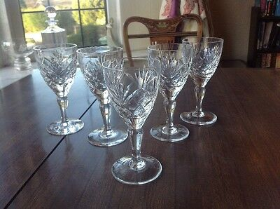 "5 Royal Brierley braemar Sherry/wine Glasses 4 3/4"" All Signed"