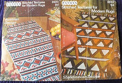 Vintage Patons Leaflet 9933 Stitched Textures for Modern Rugs-Rug Making Pattern