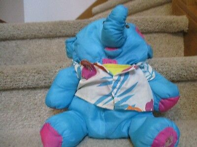 Vintage Fisher Price Puffalump Blue Wild Thing Elephant with Shirt Plush fun toy