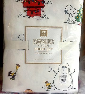 Pottery Barn Teen Peanuts Holiday flannel QUEEN sheet set snoopy Charlie Brown
