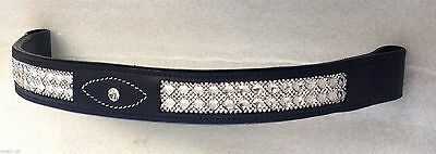 New Diamante Bling Sparkly Browband Crystals Dressage Black Full and Cob