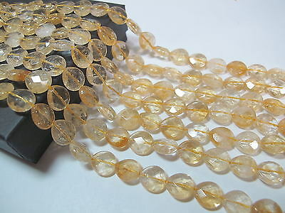 Citrine faceted flat pear beads 10mm