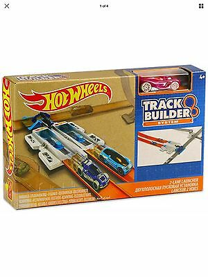Hot Wheels Playset Track Builder System Two 2 Lane Launcher DJD68 Brand New