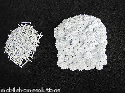 """250  Mobile Home RV White 1-1/8"""" Ceiling Rosette Buttons w/Screws"""
