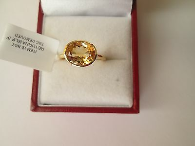 GENUINE CITRINE STERLING SILVER GOLD OVERLAY 2.25ct SOLITAIRE RING SIZE N