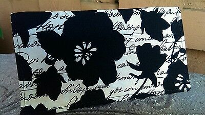 Handmade Fabric Checkbook Cover -  large black floral print