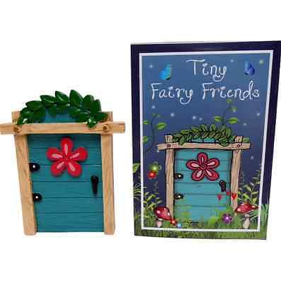 Tiny Fairy Friends - Blue Resin Fairy Door with Flower Magical Gift Ornament