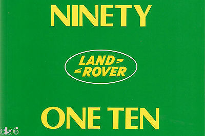 Land Rover 90 / 110 Ninety One Ten Owners Handbook *NEW