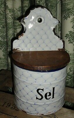 Large Vintage French Enameled SEL Salt Box ~ White with Blue Chicken Wire Design