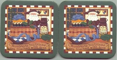 2 Longaberger Christmas Basket Traditions Made with Love Santa Coasters