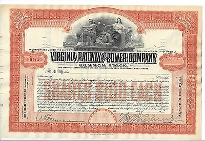 Virginia Railway And Power Company....early 1900's Unissued Stock Certificate