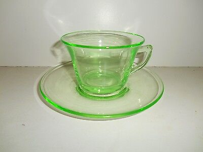 Lovely Green Elegant Glass Cup & Saucer by Cambridge Glass