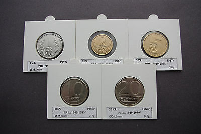 5 coins of Poland 1987 old Polish zloty collectible set