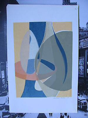 Barbara BIBER. Signed Original Mid Century Abstract Color Print Dated 1959