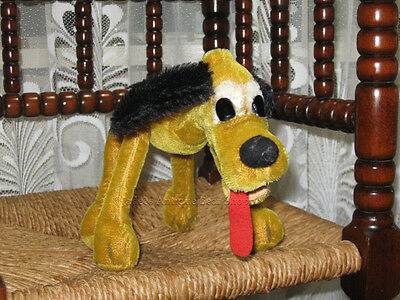 Antique 1950s Schuco German Pluto Dog Yellow Mohair 10 inch Wire Poseable