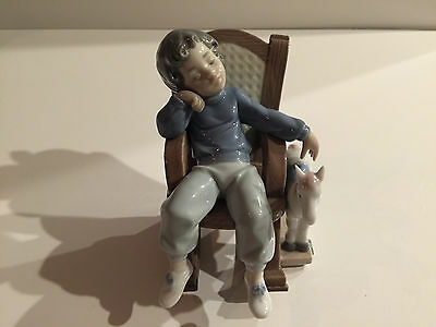 Lladro All Tuckered Out Boy in Rocking Chair + Horse Figurine Gloss Finish 5846