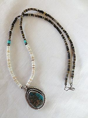 """Necklace - Turquoise - Heishi - Silver - 19"""" long - Handmade - Vintage"""
