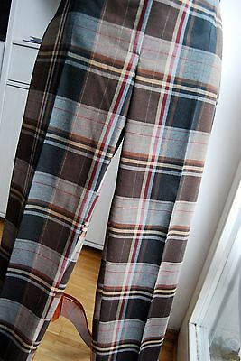 vintage brown check tartan vivienne style punk trousers UK 14