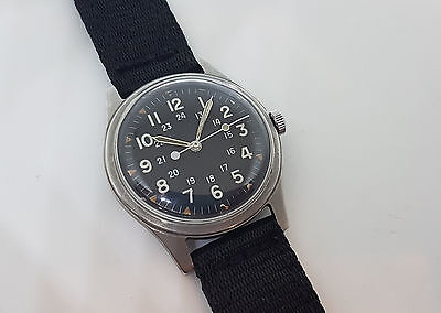 Vintage 1966 Military Watch By Hamilton Black Dial