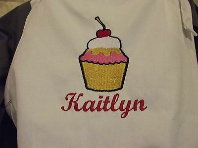 Custom Kitchen Apron, Bakers Personalized Kitchen Apron, Cupcake Embroidery