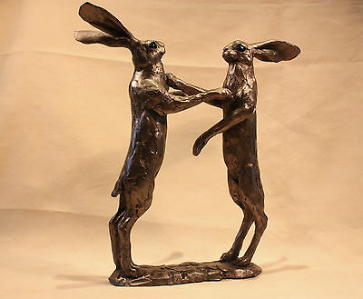 Howard and Hilda Boxing Hares - Bronze -Paul Jenkins - Superb Gift - New