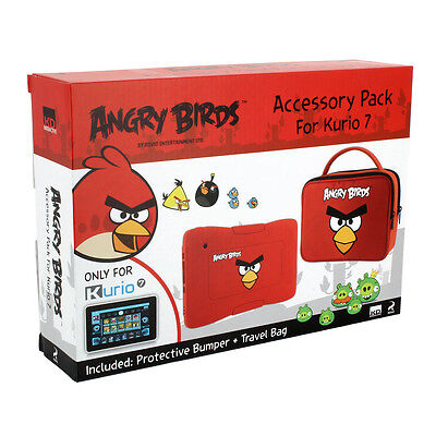 Kurio 7 Angry Birds Protective Skin Bumper and Travel Bag Accessory Pack, Red (C