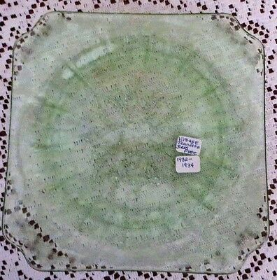 "Vintage 1930s Jeanette 7 1/2"" Green Glass Plate - square"