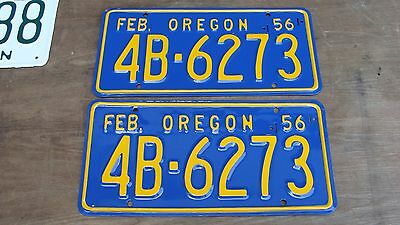 "1956 Oregon Restored ""PAIR"" License Plates # 4B 6273"