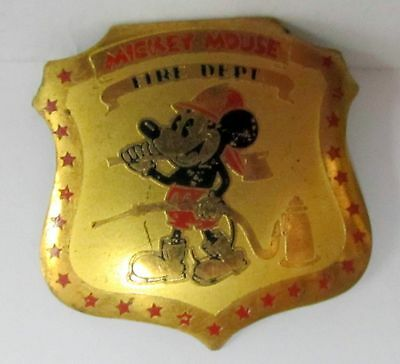 rare 1930's MICKEY MOUSE FIRE DEPT. brass pinback badge shield