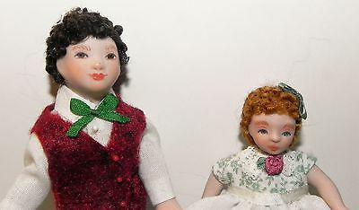 Dollhouse Miniature Doll Brother and Sister Porcelain Artisan