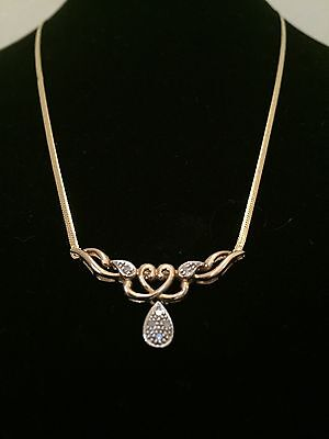 9ct Gold And Diamond Necklace