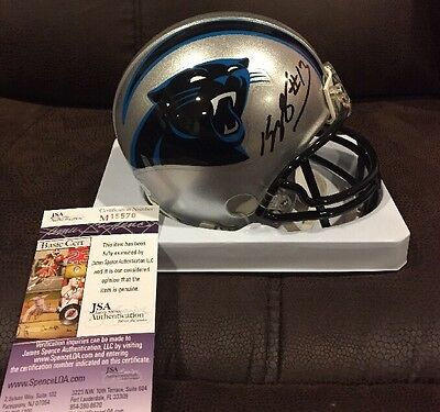 KELVIN BENJAMIN CAROLINA PANTHERS Autographed Mini Helmet JSA Basic COA