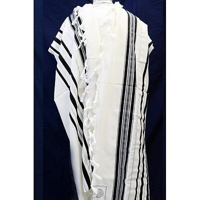 TRADITIONAL WOOL TALLIT WITH BLACK & SILVER STRIPES Jewish Prayer Shawl SIZE 50
