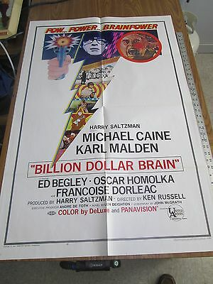 Billion Dollar Brain 1967 Original Movie Poster Crime Karl Malden Michael Kane