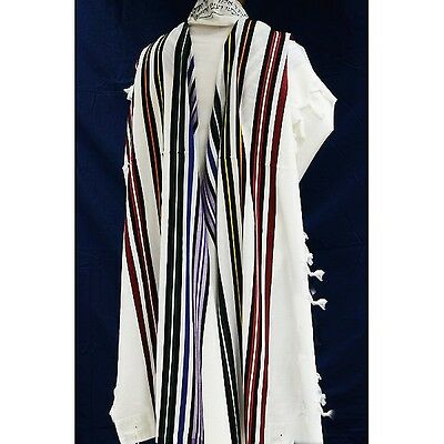 WOOL TALLIT WITH COLORFUL STRIPES - Made in Israel Jewish Prayer Shawl SIZE 18