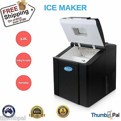 3.2L Portable Ice Cube Maker Machine Quick Commercial Home Fast Black Ice Scoop