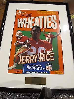 Jerry Rice Autographed 49ers Wheaties Ltd Ed of 223 JSA Framed Ready to Hang