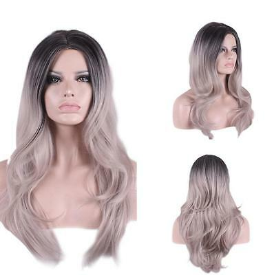 Lace Front Wig Heat Resistant Long Wavy Ombre Grey Gray Synthetic Full Hair Wigs