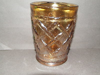 Carnival Glass Tumbler Antique Vintage Dugan Marigold Grapevine Lattice (Cg65)