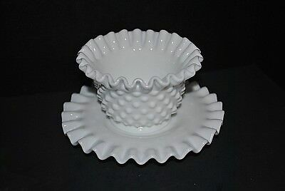 Vintage Fenton Ruffled Hobnail Milk Glass Mayonnaise Bowl and Plate